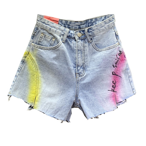 letters loose high waist straight wide leg jeans denim shorts