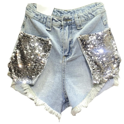 sequins loose high waist a-line wide leg jeans denim shorts