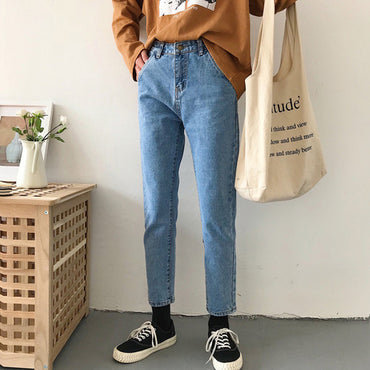 High Ankle-Length Trousers Pockets Straight Students Denim Korean Style Jean