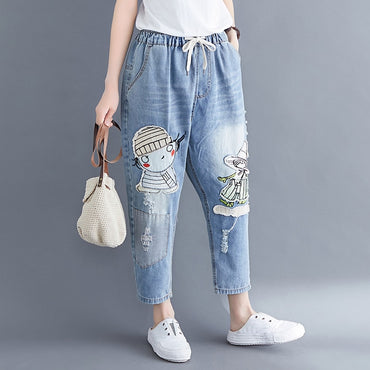 Casual Loose  Ankle-Length Vintage Cartoon Cowboy Denim Harem jeans