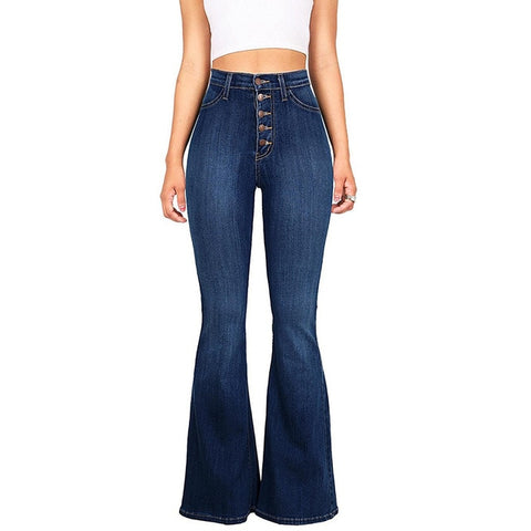 Casual Maxi Waist Cotton Jeans