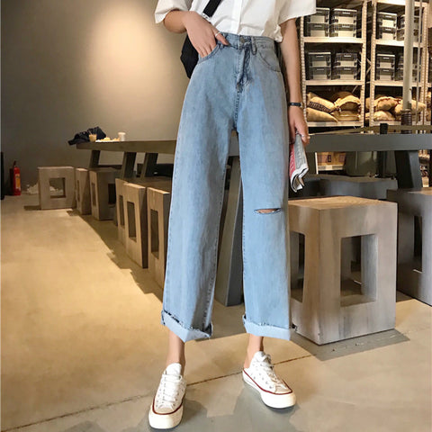 Chic Loose Simple Blue Korean Style jeans