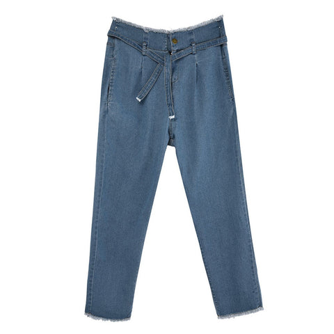 Hight Waisted Bow Bandage Hole Jeans