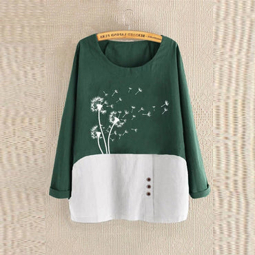 Long Sleeve Cotton Linen O-Neck Floral Print Blouse