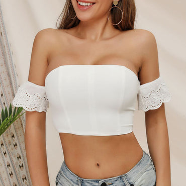 Cotton off shoulder chest stitching lace Crop Top