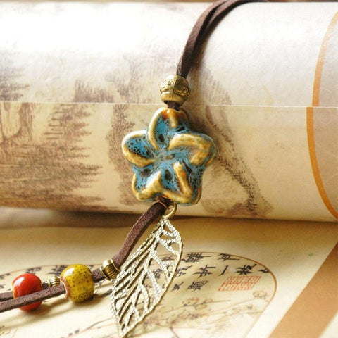Star Necklaces Ceramic Beads Hollow Leaf Flower Pendants Statement Charm Necklace