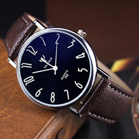 Classic Ultra-thin Blue Glass Mens Quartz-watch