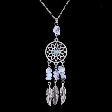 Feather Dreamcatcher Reiki  Natural Stone Pendant Necklace Ethnic Boho  Necklace