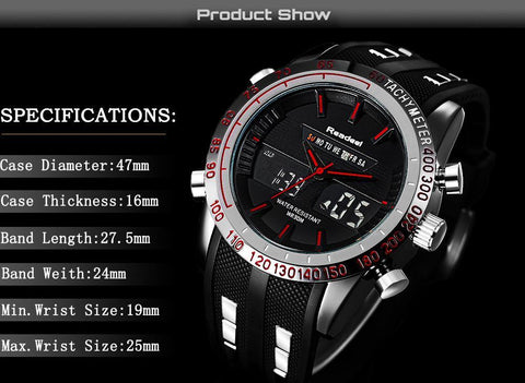 Luxury Brand Watches Men Sports Watches Waterproof LED Digital Quartz Men Military Wrist Watch