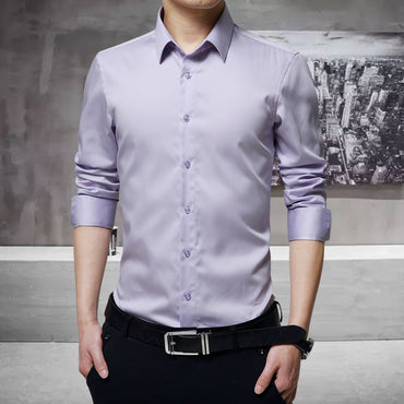 Fashion Slim Fit Solid High Quality Business Formal Shirt