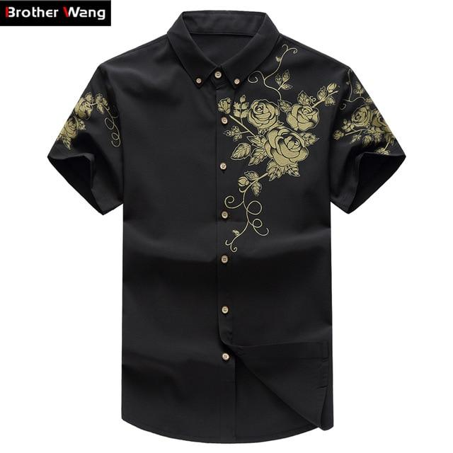 Summer Men's Shirt Fashion Floral Print Male Casual Short Sleeve Shirt