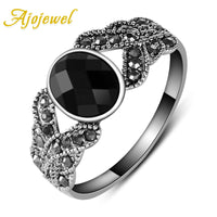 Retro Style Simple Black Resin Ring