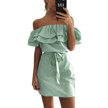 Striped Summer Dress Ruffle