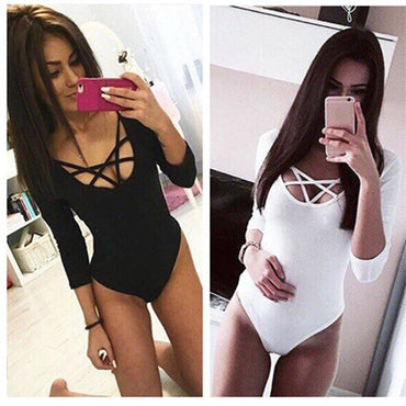 3/4 Sleeve Bodysuit Bodycon Leotard Body Tops Jumpsuit