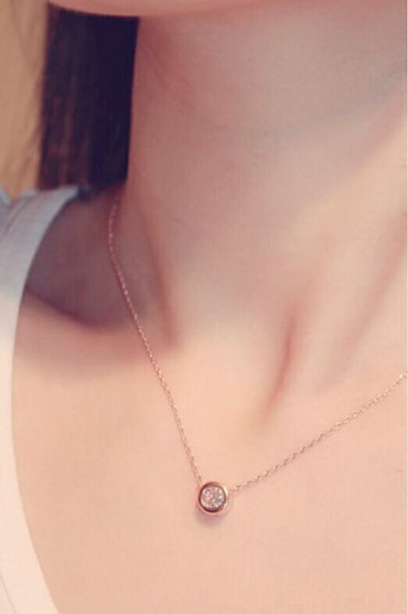 Simple Rose Gold-color Zircon Short Necklace