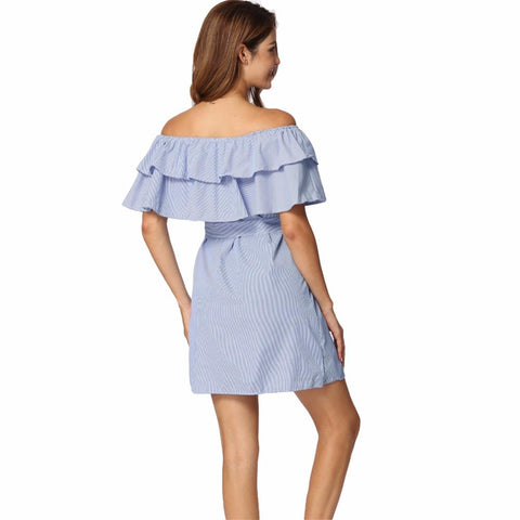 Off Shoulder Blue Striped Ruffles Mini Party Dresses