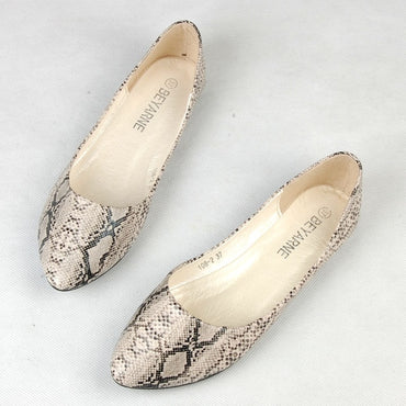 snake skin pattern flat shoes
