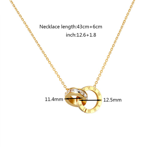 A Circle Crystal Roman Numerals Double Buckle  Necklace