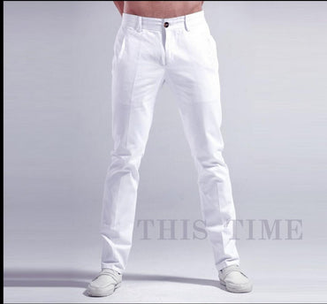 thin white slacks Slim stretch pants