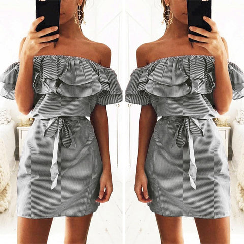 Off the Shoulder Striped Layered Ruffle Tie Waist Mini Dress