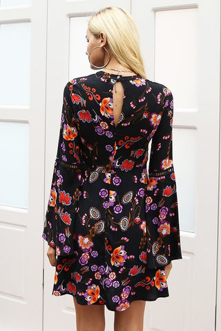 Vintage hollow out button floral print Flare sleeve dress