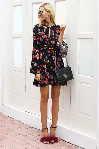 Vintage hollow out button floral print dress