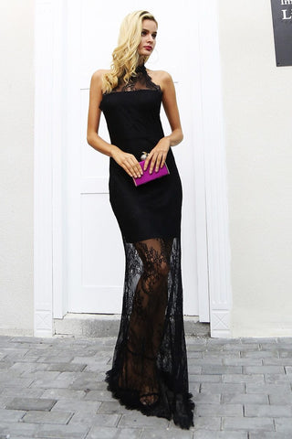 Elegant halter black lace dress