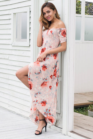 Sweet off shoulder high waist irregular cross long maxi dress
