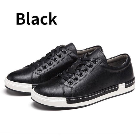 New Casual Shoes Leather Flats Lace-Up
