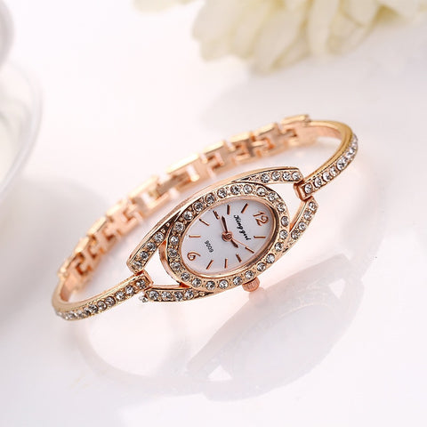 Watch  Luxury Clock Women Lady Delicate Stainless Steel Crystal Quartz t Watches