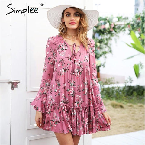 Lace up floral print long sleeve ruffle loose short dress