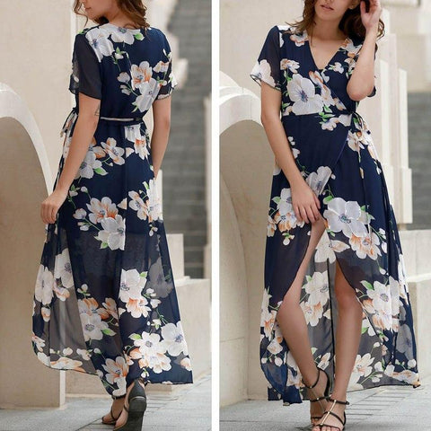 Floral printed chiffom maxi dress