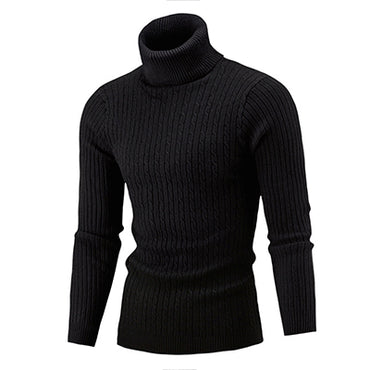 Solid Simple Slim  High Neck Sweater