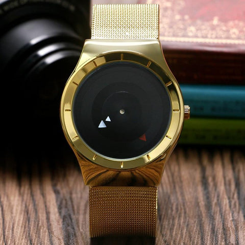 Unique  Brief Layered Turntable Mesh Stainless Steel Band Simple Casual Male Quartz Wristwatches