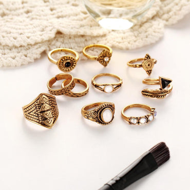 10pcs/Set Leaf Midi Ring Sets Antique Gold Silver Color Crystal Triangle Stone Knuckle Rings