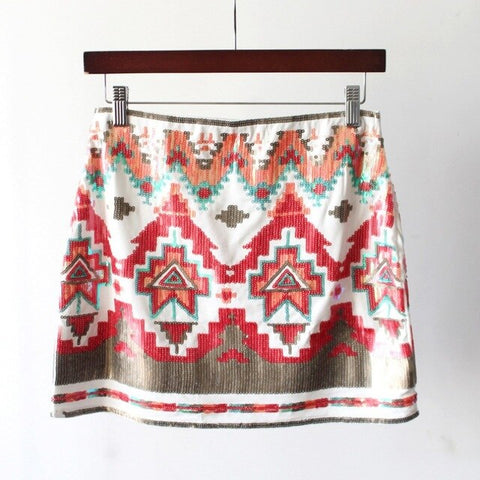 Vintage Elastic Waist Contrast Color Geometric Sequined A Line Mini Skirt