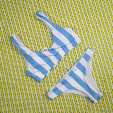 New Women Striped Bikini Set Push Up Padded Swimwear