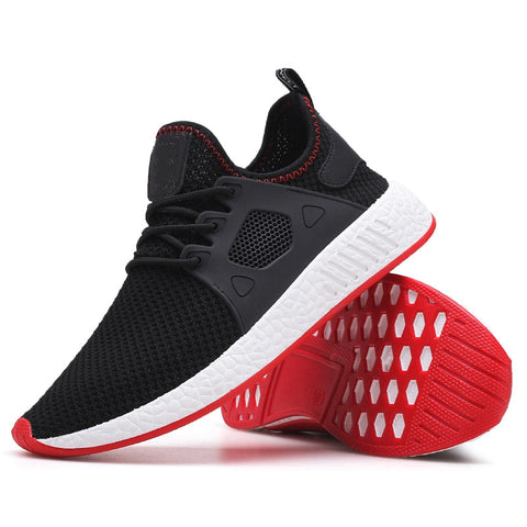 Fashion Men Shoes Casual Weaving Fly Mesh Breathable Light Soft Black  Mens Shoes