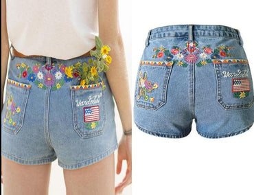 3D Embroidery With High Waist Colorful Pattern Bohemia Denim Shorts