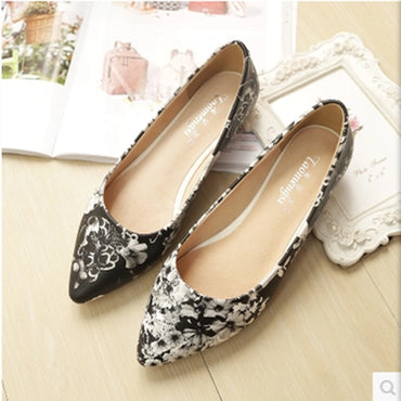 Printed floral Plus size (4-12) Spike Platform Shallow Pointed toe Pregnant flat shoes
