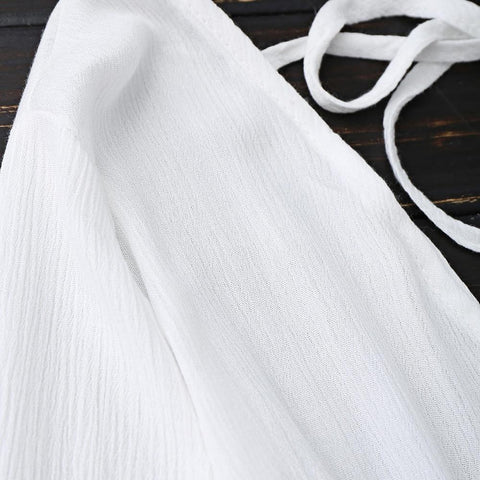 Low Back Plunge Linen Beach Dress