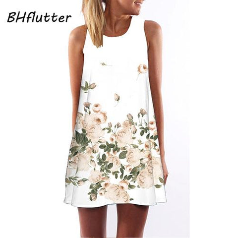 Floral Print Chiffon Dress Sleeveless