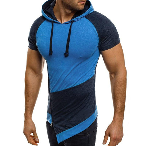 Hoodies Short Sleeve Fashion Oblique Zipper Hit Color Patchwork Hoodies