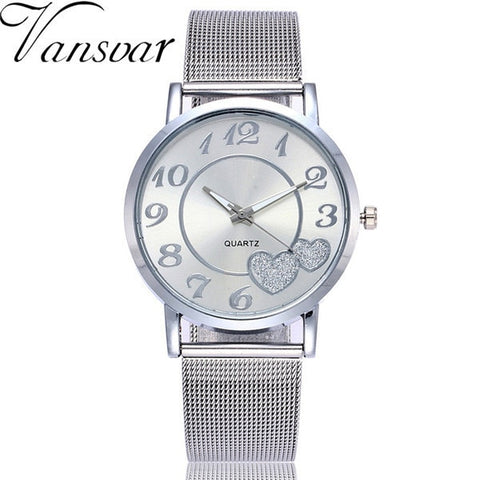 Silver & Gold Mesh Love Heart Dial Wristwatches Fashion Casual Women's Steel Quartz Watches