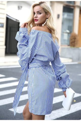Sexy off shoulder lantern sleeve wrap shirt dress