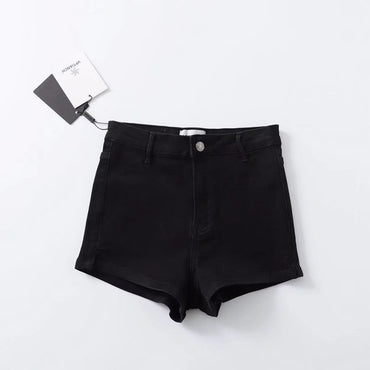 High Waist Split Hem Denim Shorts