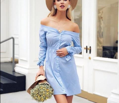 Sexy off shoulder Tie up button midi dress