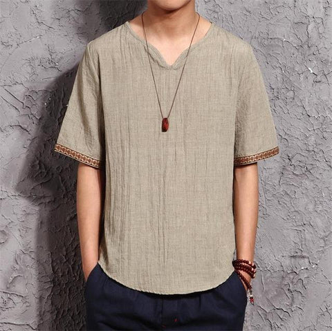 Linen fashion Men Fashion Shirts  Culture Men's Shirt Slim Short Sleeve Brand Breathable