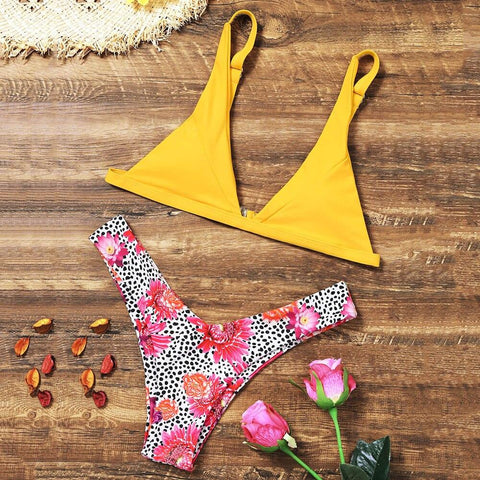 Leopard Floral Bikini Set  Swimsuit