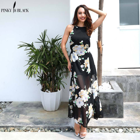Floral printed halter chiffon long maxi dress